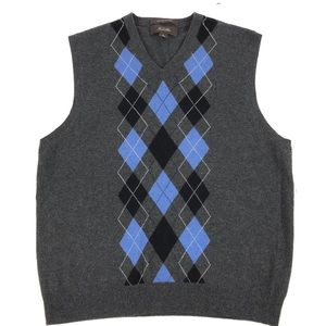 TASSO ELBA  Cashmere ARGYLE SWEATER VestPRE-LOVED